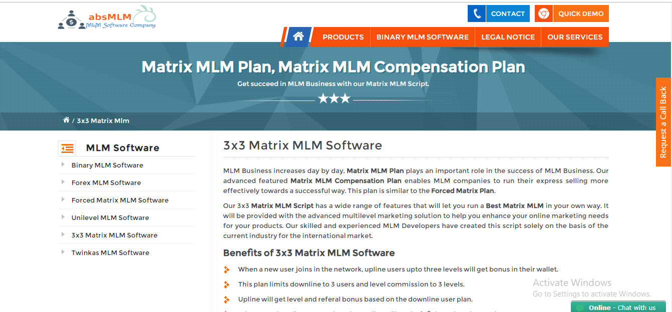 absMLM Software | Matrix MLM Compensation Plan
