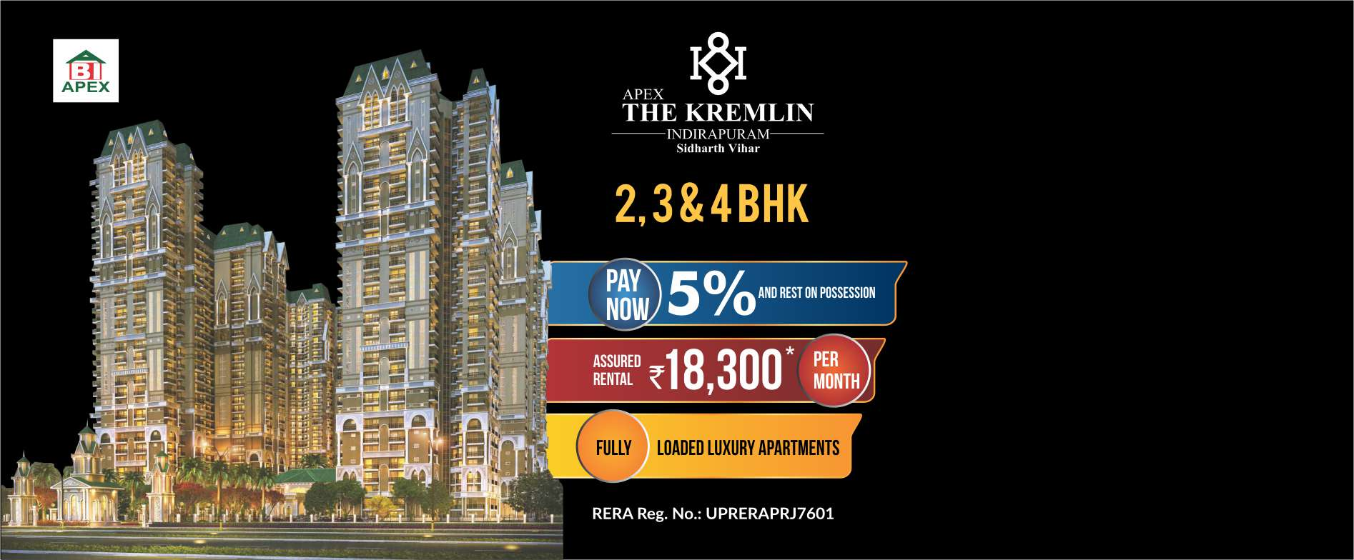 Apex The Kremlin 2, 3BHK for booking call us: +918010654321