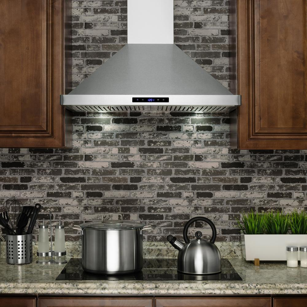 "RH0284 30"" Convertible Wall Mount Range Hood w/ LEDs and Touch Control, Stainless Steel"