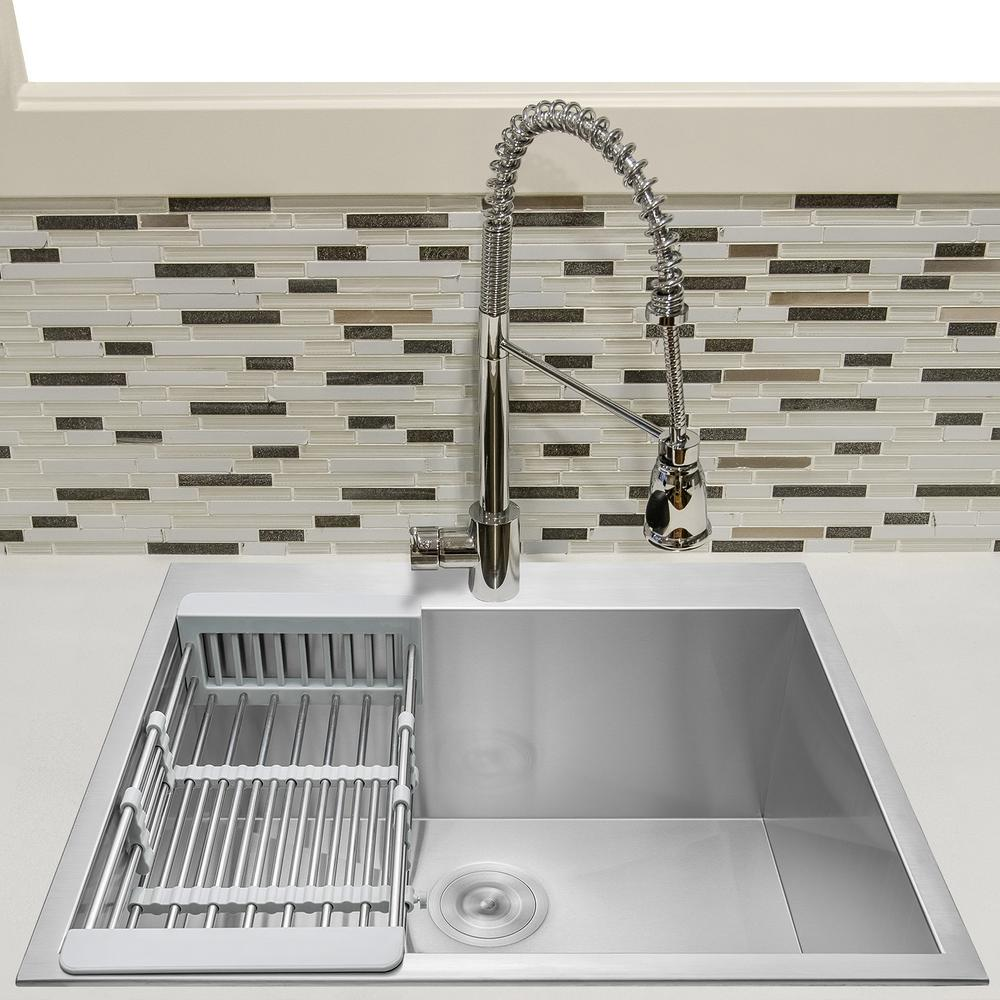 "KS0095 25"" Drop-In Single Bowl Kitchen Sink w/ Tray and Drain, Stainless Steel"