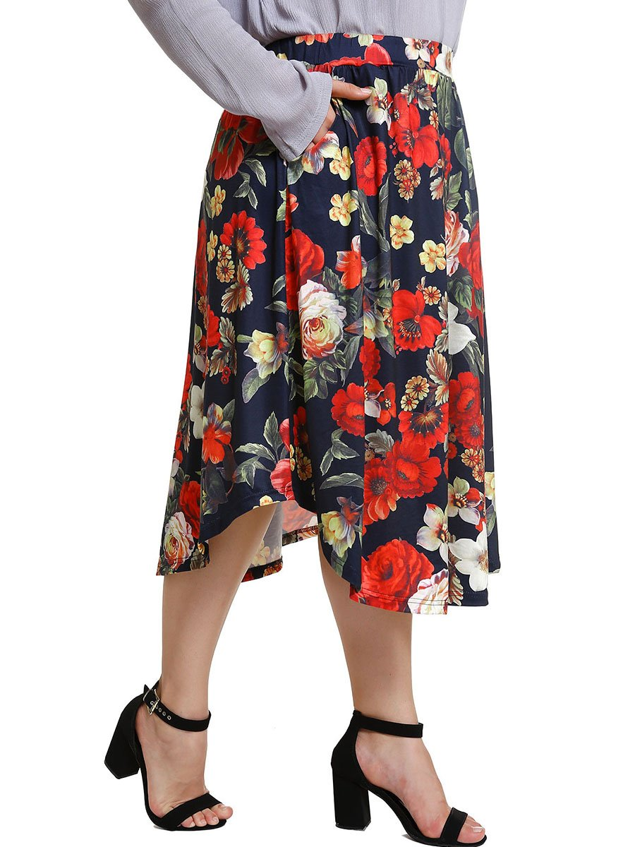 Fashion Women's Casual High Waist Floral Retro Midi Skirt Plus size Oversize