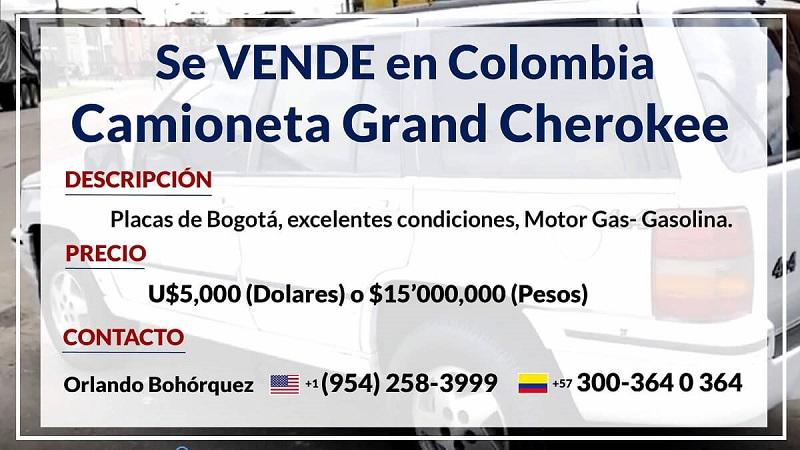 Se VENDE en COLOMBIA, Camioneta Jeep Grand Cherokee