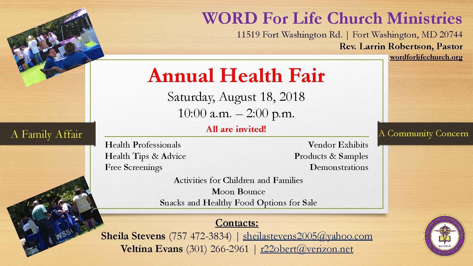 Word For Life Church Annual Community Health Fair and Back to School Fair