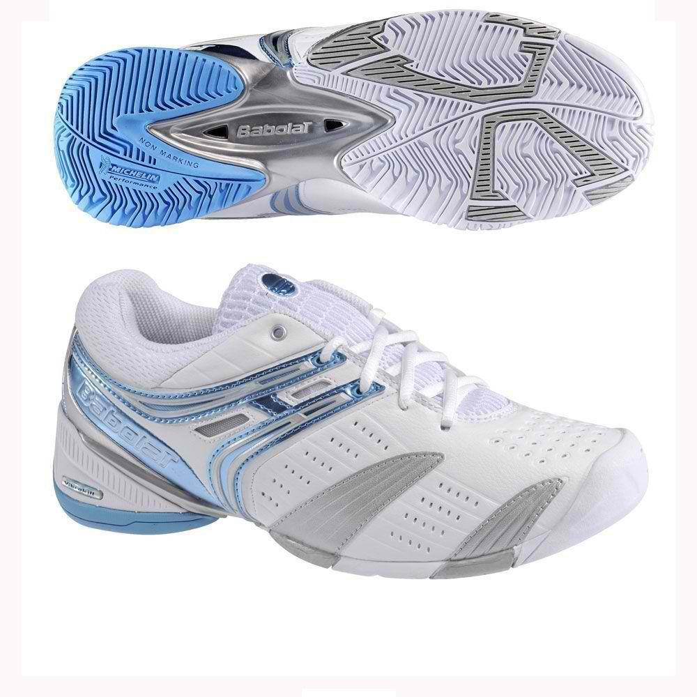 BABOLAT V-PRO LADY WOMENS TENNIS SHOES WHITE/BLUE/SILVER