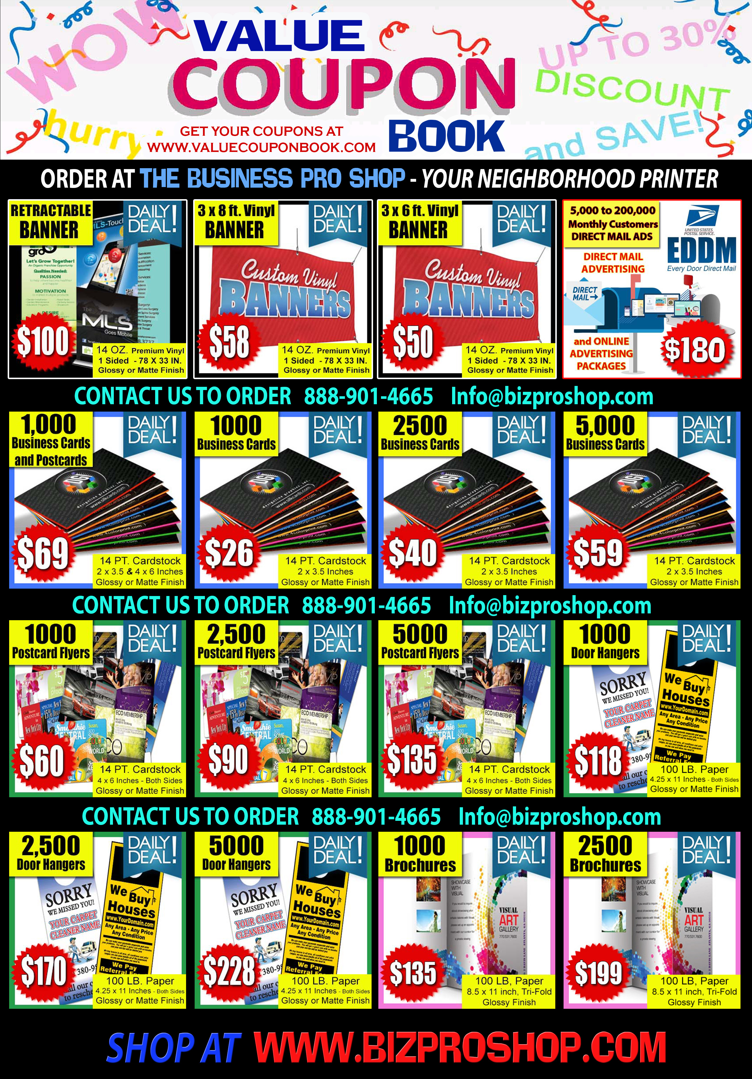 Coupons: Business Cards,  Flyers,  Banners, Car Magnets
