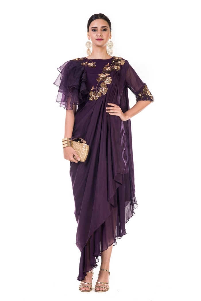 Hand Embroidered Plum Draped Indowestern Dress With One Side Ruffles