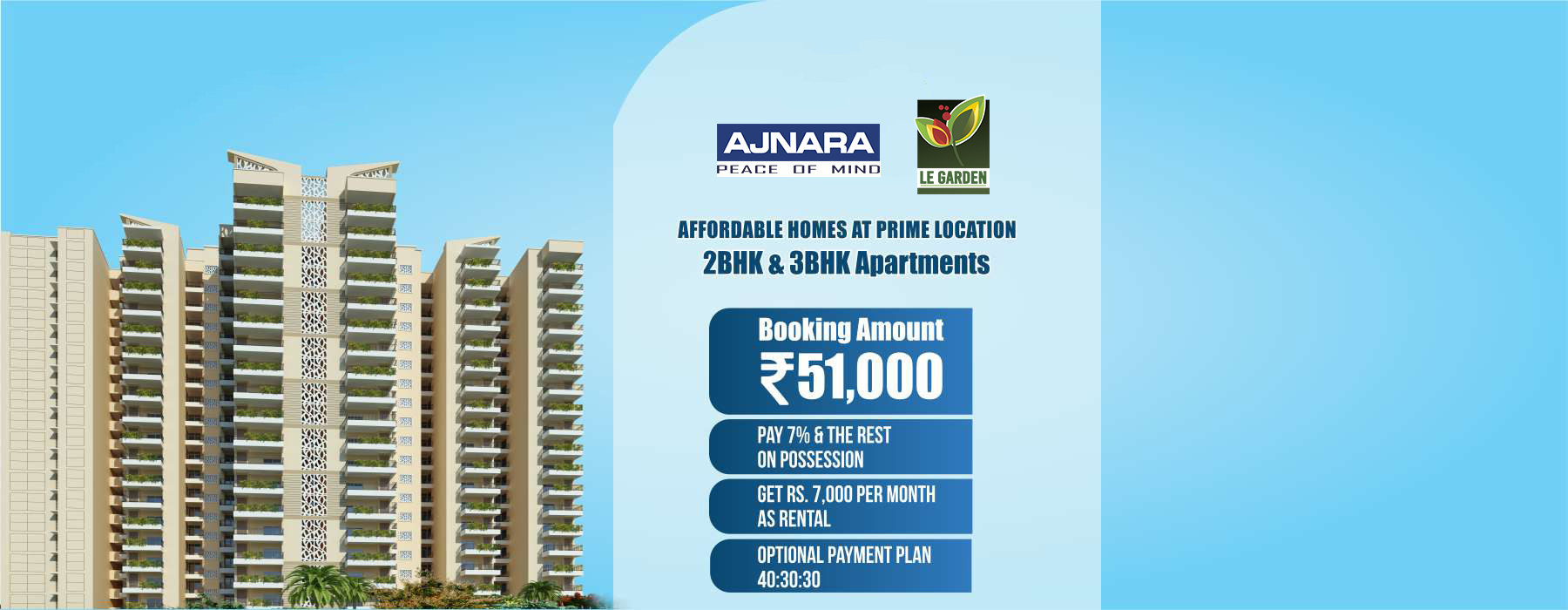 Ajnara Prime Tower offering 2,3BHK for booking Call us: +919015270270