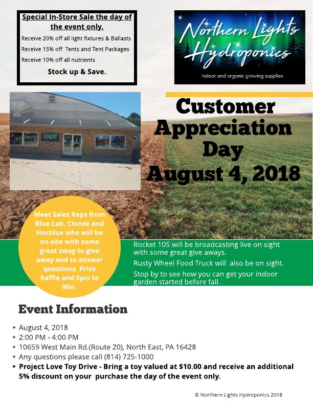 Northern Lights Hydroponics Customer Appreciation Day, August 4, 2018