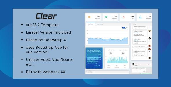 Vuejs & Laravel Admin Web Template-Clear
