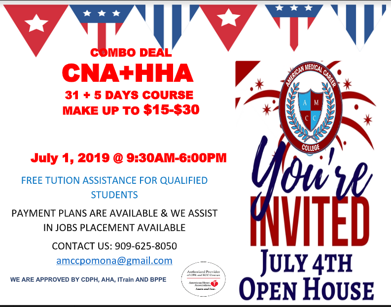 Nurse Assistant Enrolling For July 20, 2019.. Open House July 7, 2019