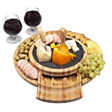 Round Charcuterie Board With Slide Out Utensils Drawer - Knife Set with 1 Fork- 5 Piece Set