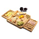 Bamboo Cheese Board With Removable Slate And Two Magnetic Detachable Drawers - Charcuterie Board