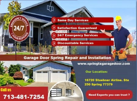 24*7 Garage Door Spring Repair Services $25.95 77379 Spring TX