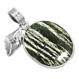 Chrysotile Pendant with Sterling Silver frame