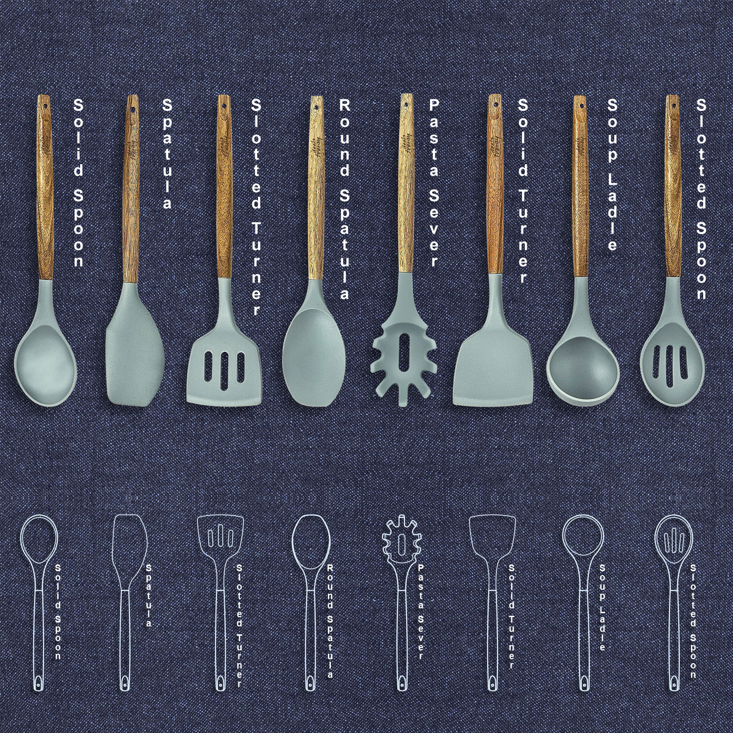 Save 20% on 8 Piece Natural Acacia Wooden Silicone Cooking Utensils Set with Amazon Coupon