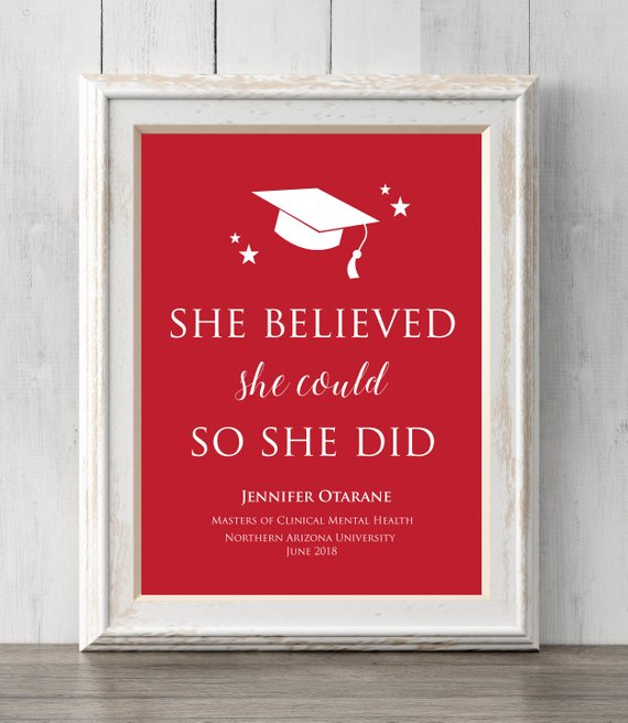 Graduation Gift Print. Custom Colors and Text.