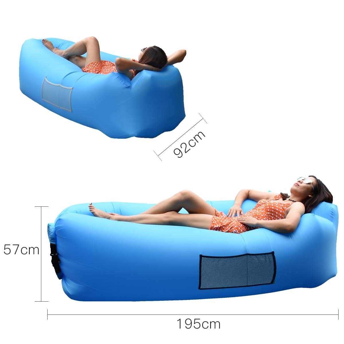 Inflatable Lounger Nylon Waterproof Durable Foldable with Carry Bag for Indoor