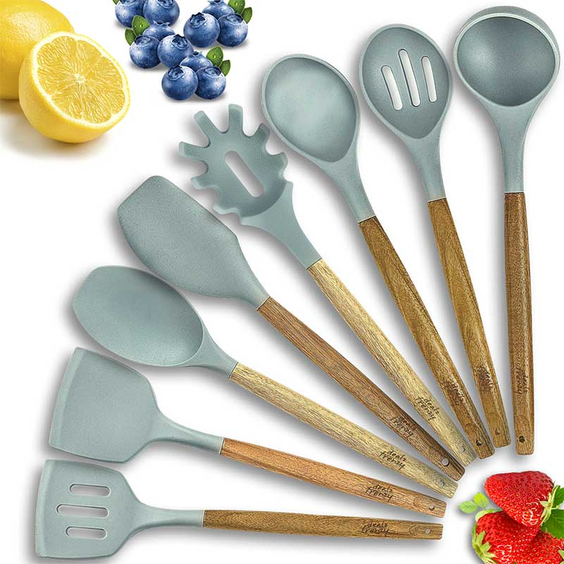 Amazon Coupon Save 20%,8 Piece Wooden Silicone Kitchen Cooking Utensils Set, Just $19.19