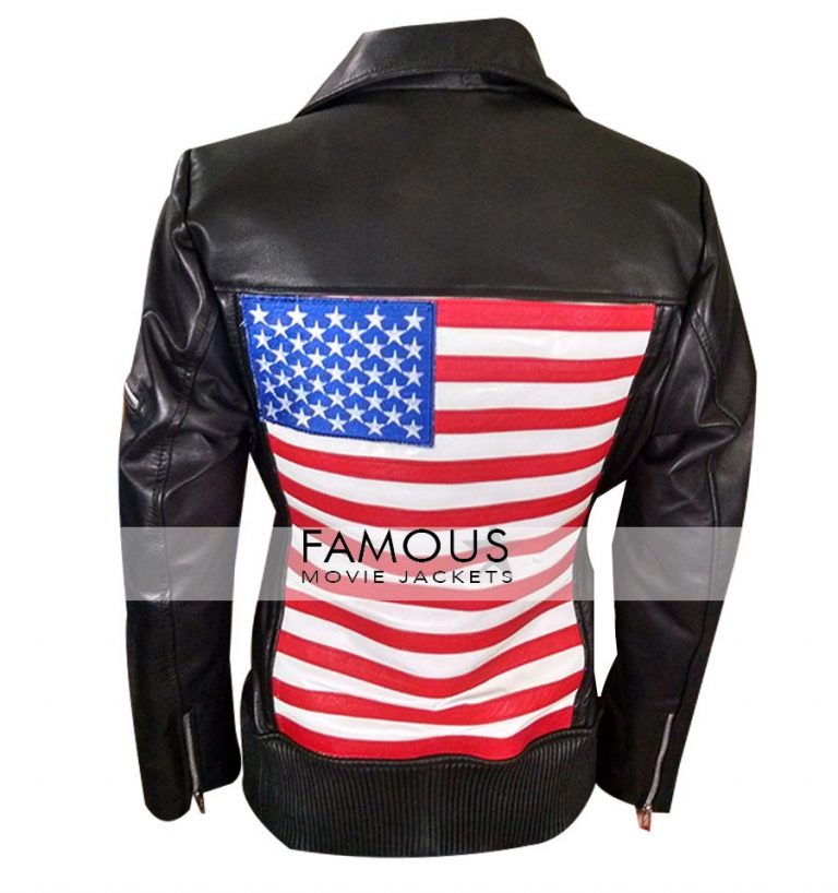 America Flag Women Black Motorcycle Leather Jacket