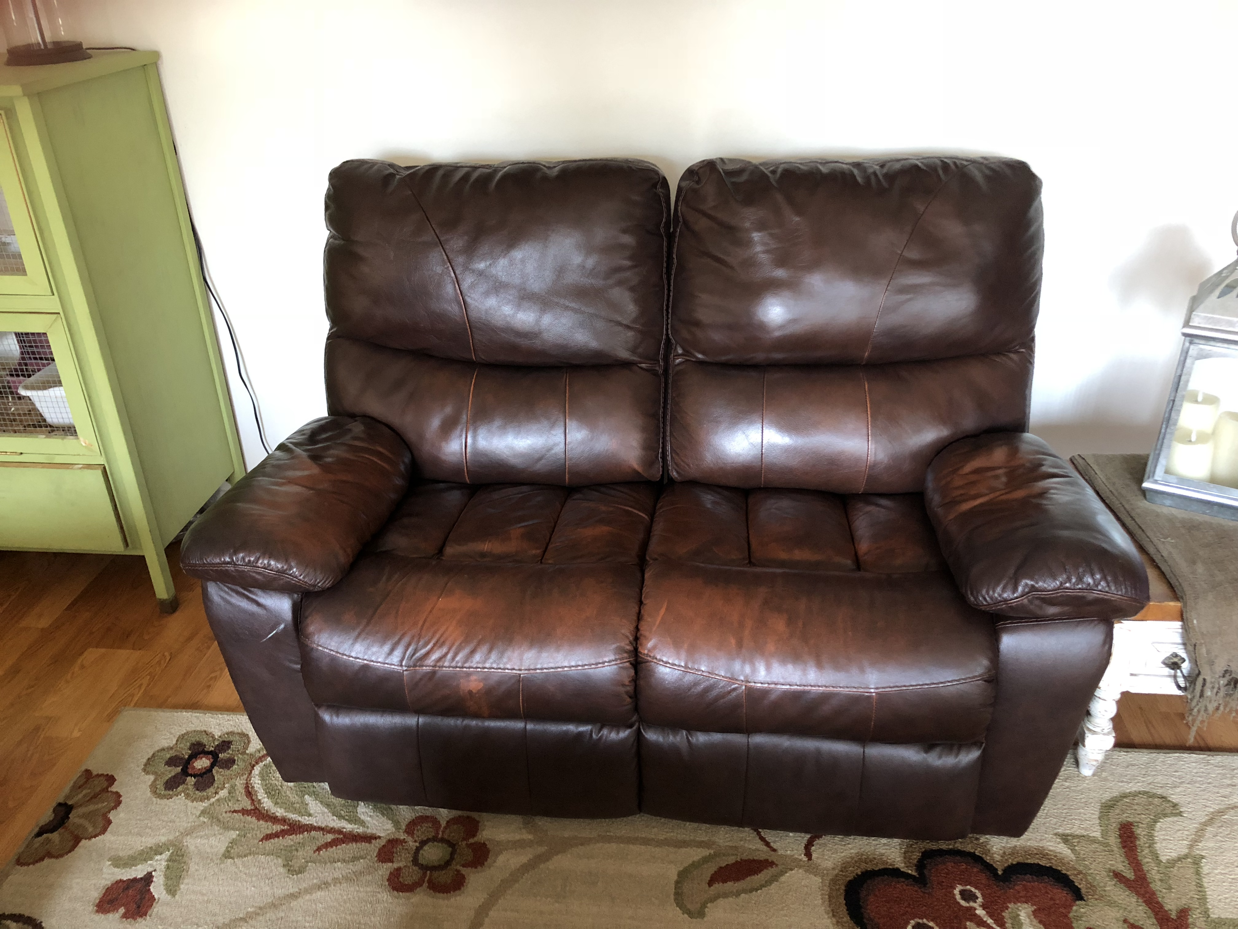Ashley Furniture brown leather reclining sofa set