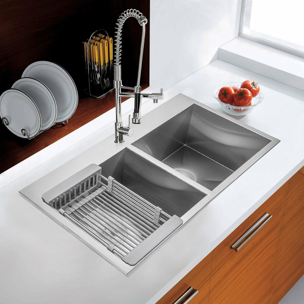 "KS0100 32"" Stainless Steel Drop-In Double Bowl Kitchen Sink w/ Tray and Drain"