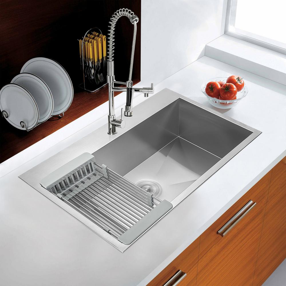 "KS0101 33"" Stainless Steel Drop-In Single Bowl Kitchen Sink w/ Tray and Drain"