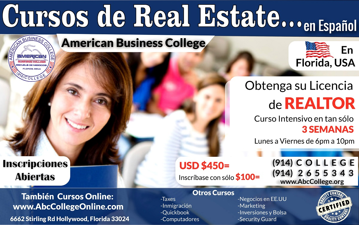 CURSO DE REAL ESTATE en ESPAÑOL, FLORIDA-USA