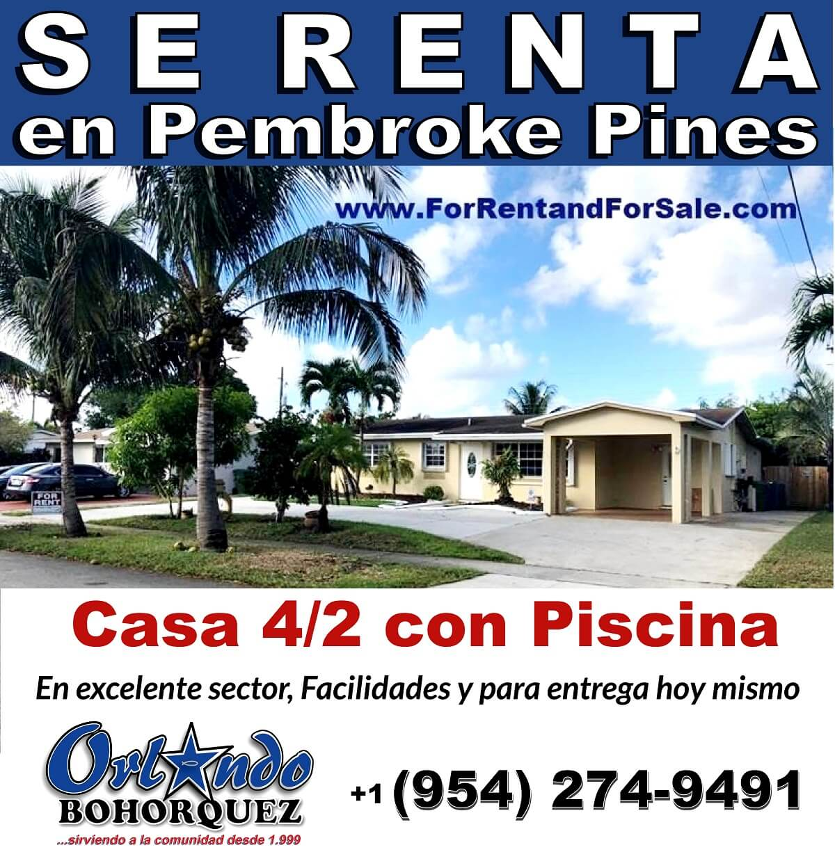 CASA EN RENTA, PEMBROKE PINES-FLORIDA