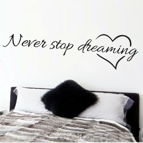 """Never Stop Dreaming"" Inspirational Quotes Wall Decals for Decoration"
