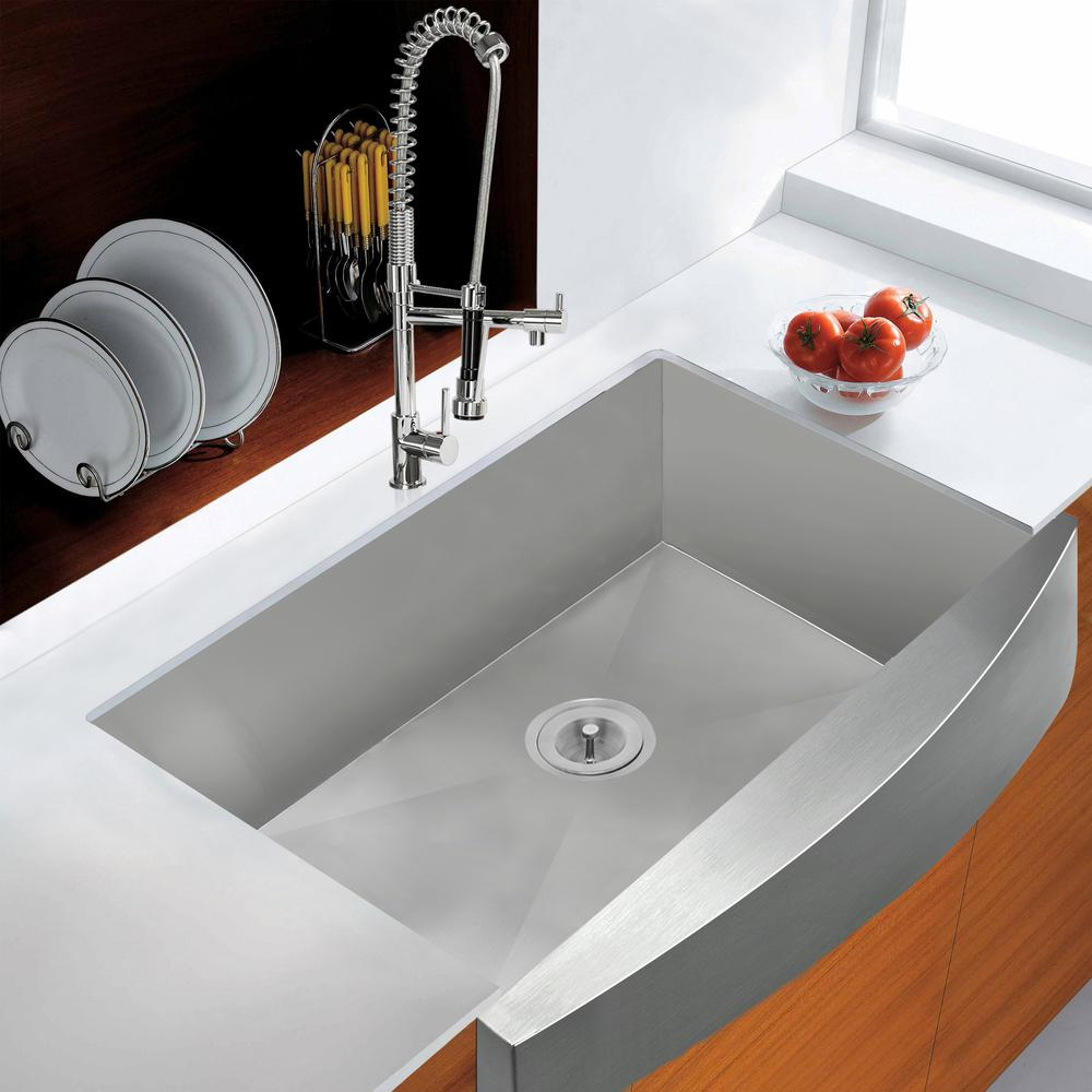"KS0064 30"" Apron Front Single Bowl Sink, Stainless Steel"