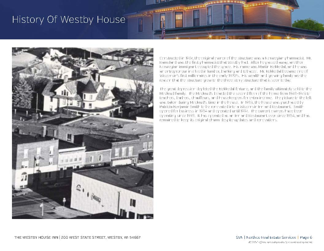 Historic Westby House Inn for Sale