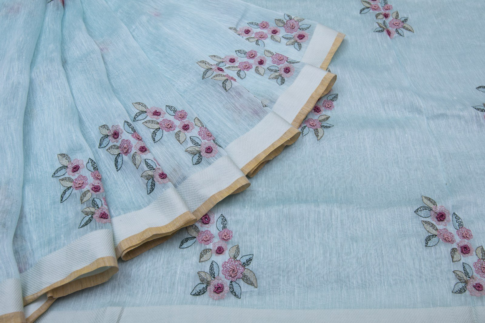 Online shopping for latest linen embroidery handloom saris @ Singhanias 2019