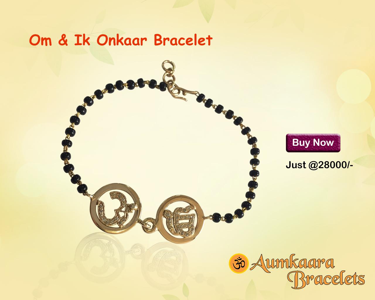 Om & Ik Onkaar Joint Bracelet In Gold On Mangal Sutra Chain
