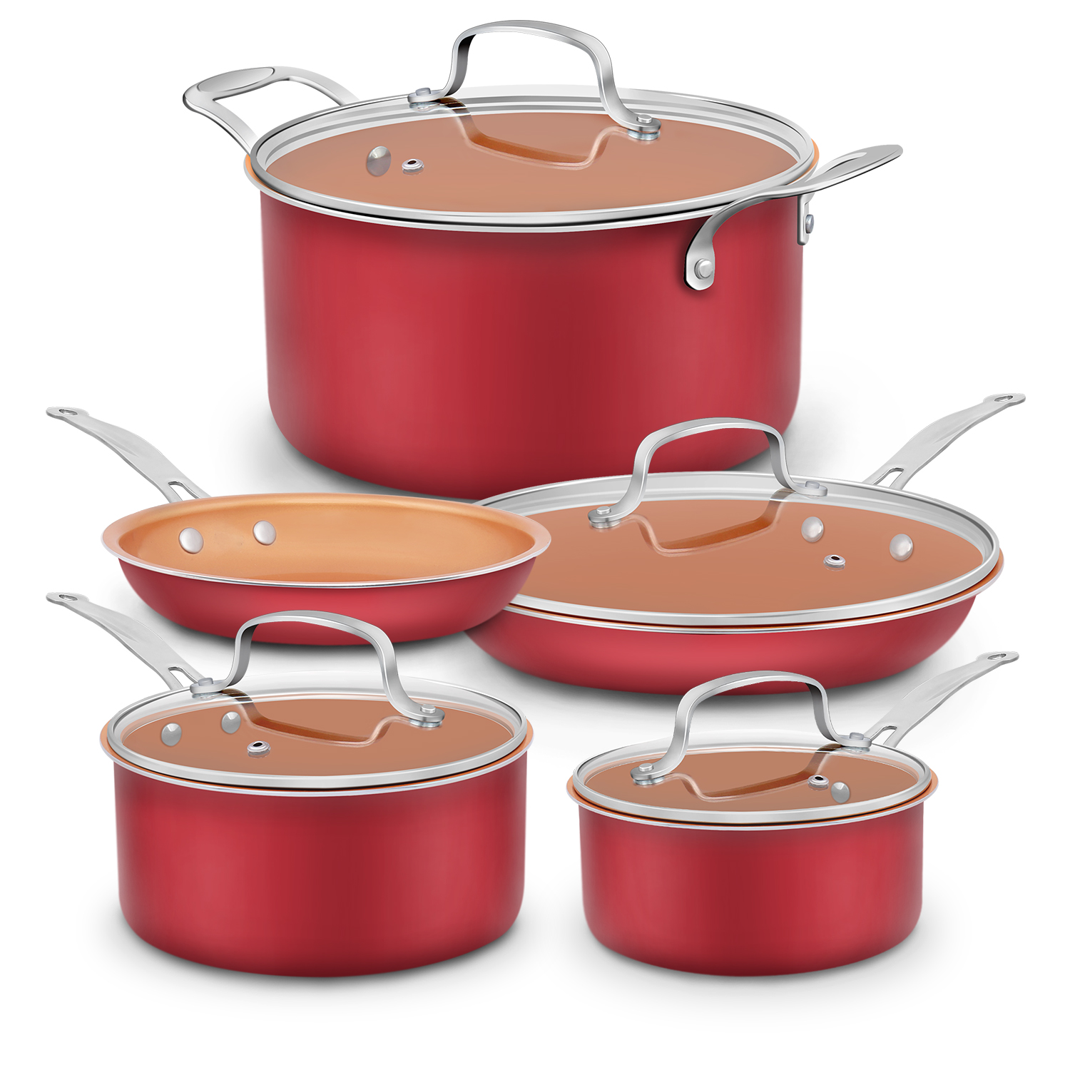 9 Piece Aluminum-Infused Copper Ceramic Non-Stick Cookware Set, Save $10 with Amazon Coupon
