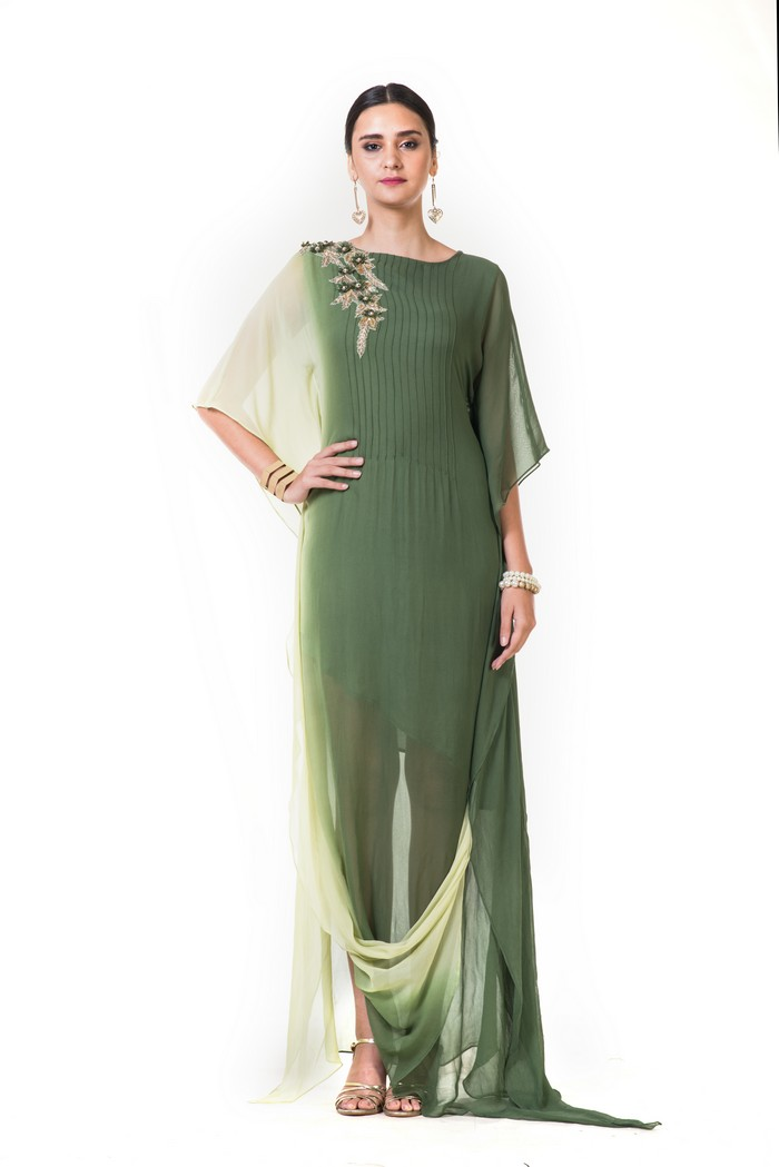 Lemon & Green Shaded Kaftan Drape Gown with Floral Embroidery