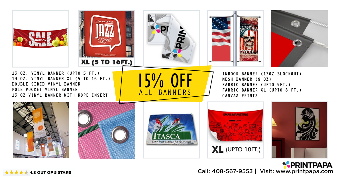 Get 15% Off on all High Quality full color Banner Printing
