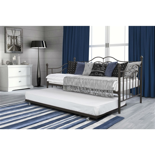 Twin size Daybeds with Trundle Bed in Brushed Bronze Metal Finish.FF-900003421890DB.