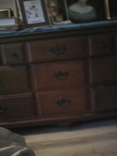 SELLING ANTIQUE CHERRY WOOD TRIPLE DRESSER AND LARGE OAK WOOD CHEST
