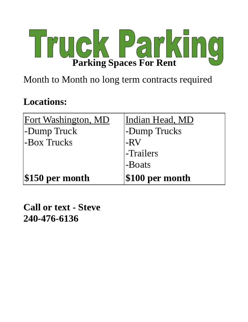 Truck Parking Spaces for rent