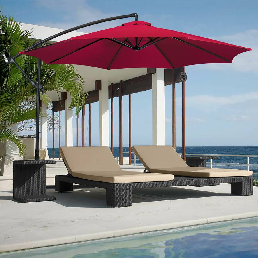 New Red 10' offset patio umbrella, never opened