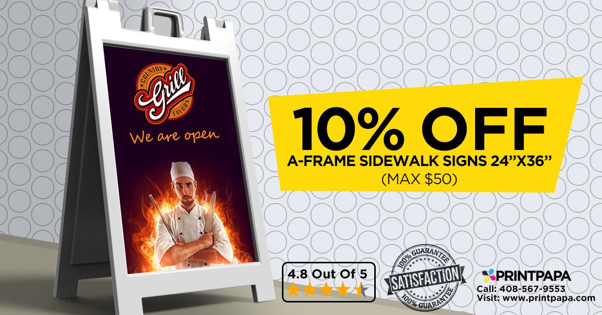 Get 10% off on A-Frame & Sidewalk Signs