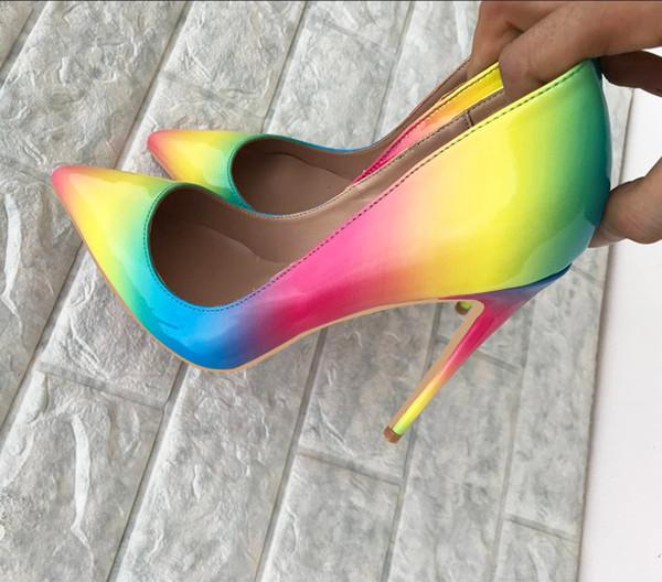 Buy Colorful Rainbow Printed Pointed Toe Stiletto High Heels