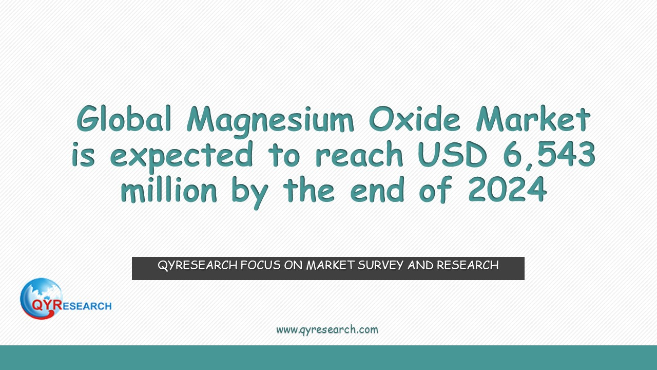 Global Magnesium Oxide Market is expected to reach USD 6,543 million by the end of 2024