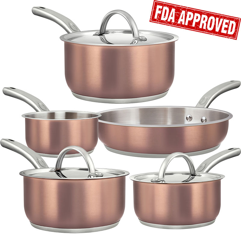 8 Pieces Tri-Ply Copper Stainless Steel Non-Stick Cookware Set, SAVE $10 with Amazon Coupon