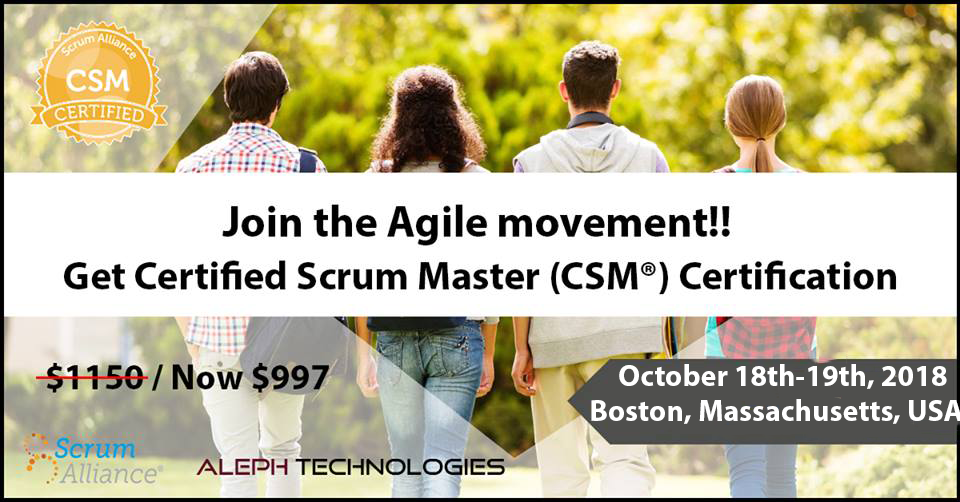 Get CSM certification now-Boston,USA