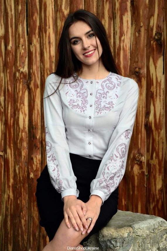 hand stitched, embroidered blouse
