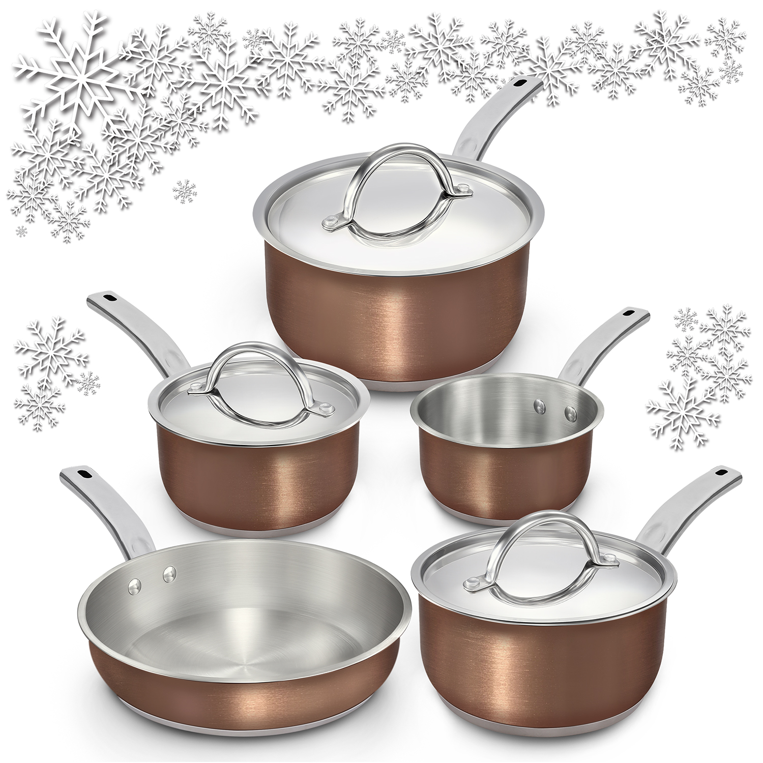 Tri-Ply Stainless Steel Pots and Pans Set, JUST $89.99 for Holiday