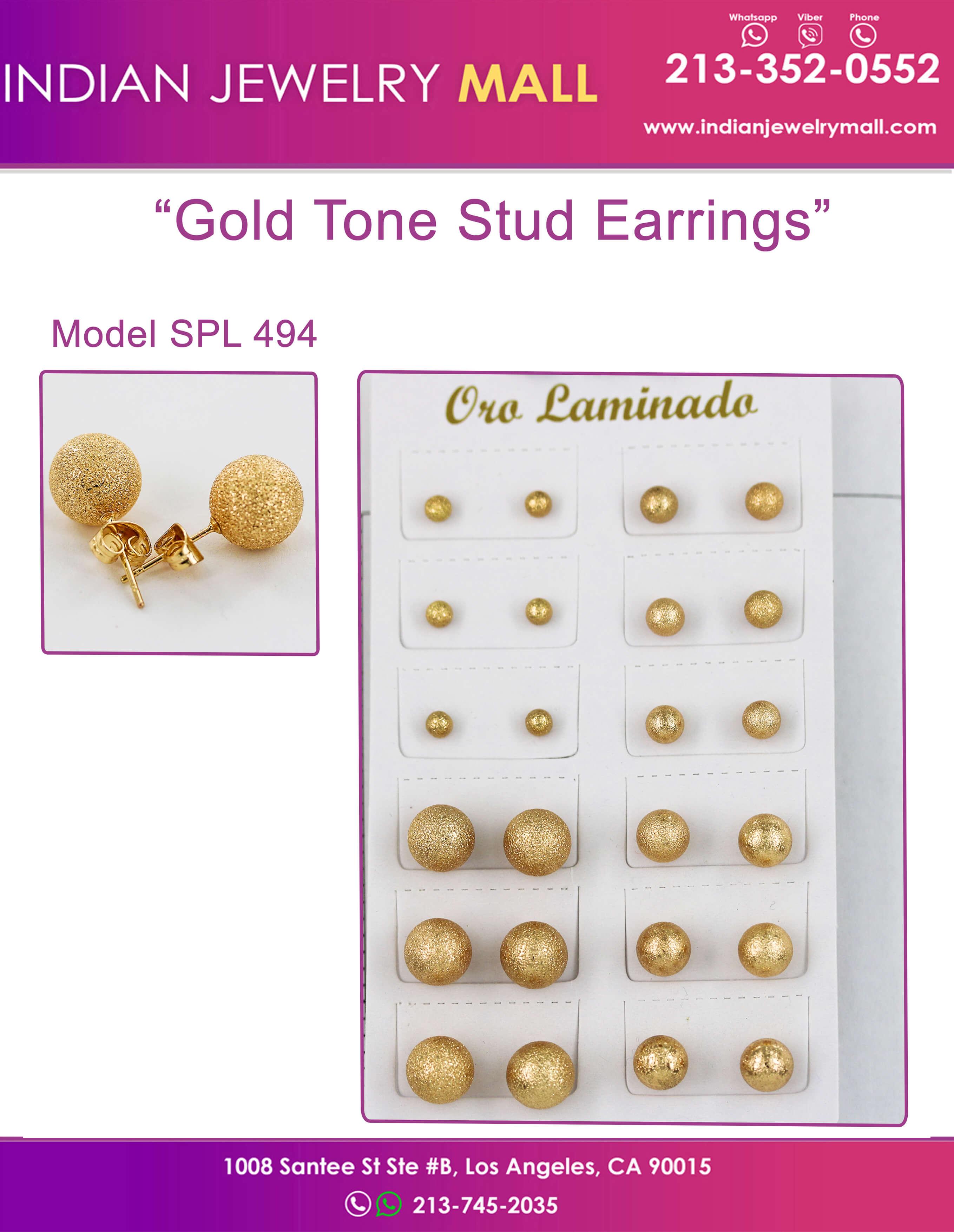 Gold Tone Stud Earrings - Oro Laminado Indian Jewelry Mall