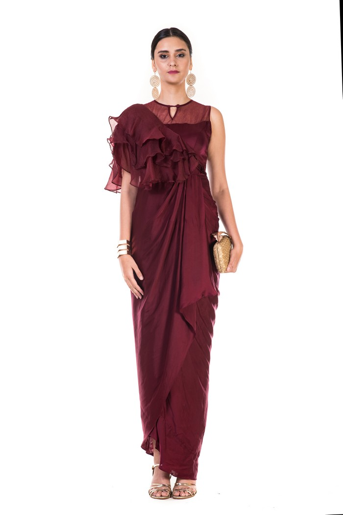 Wine Ruffle Sleeve Drape Gown
