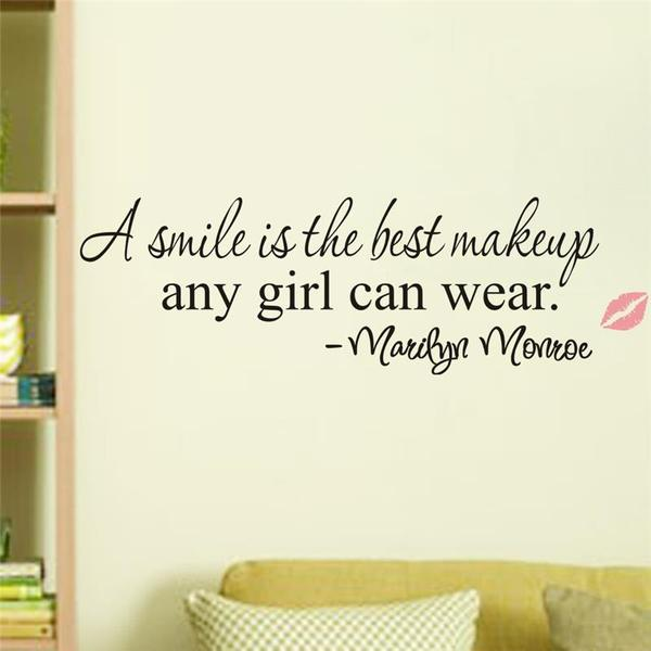 """A smile is the best makeup"" Marilyn Monroe inspirational Quote Wall Stickers"
